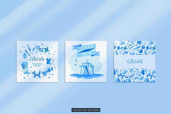 蓝色水彩卡片PSD素材07082105