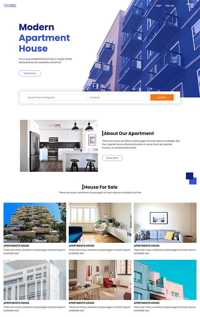 现代公寓楼租赁网站模板