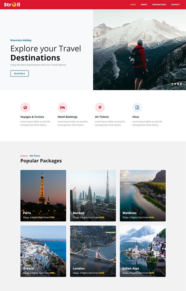 探索目的地旅游网站模板0916
