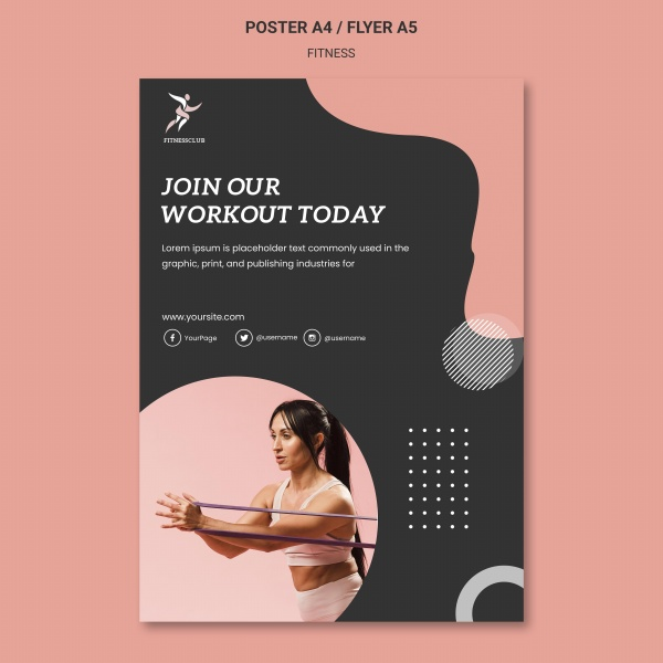 健身训练海报模板PSD