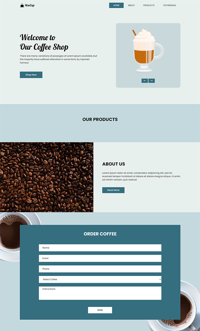 宽屏简洁咖啡甜点网站模板1226