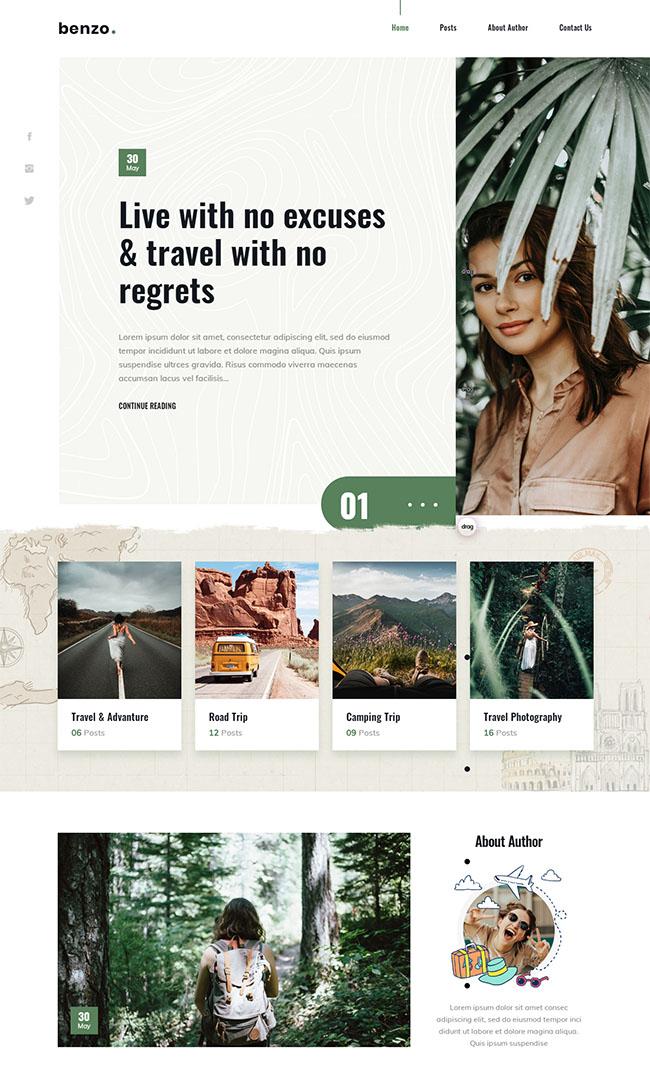 个人旅游图片博客网页模板114