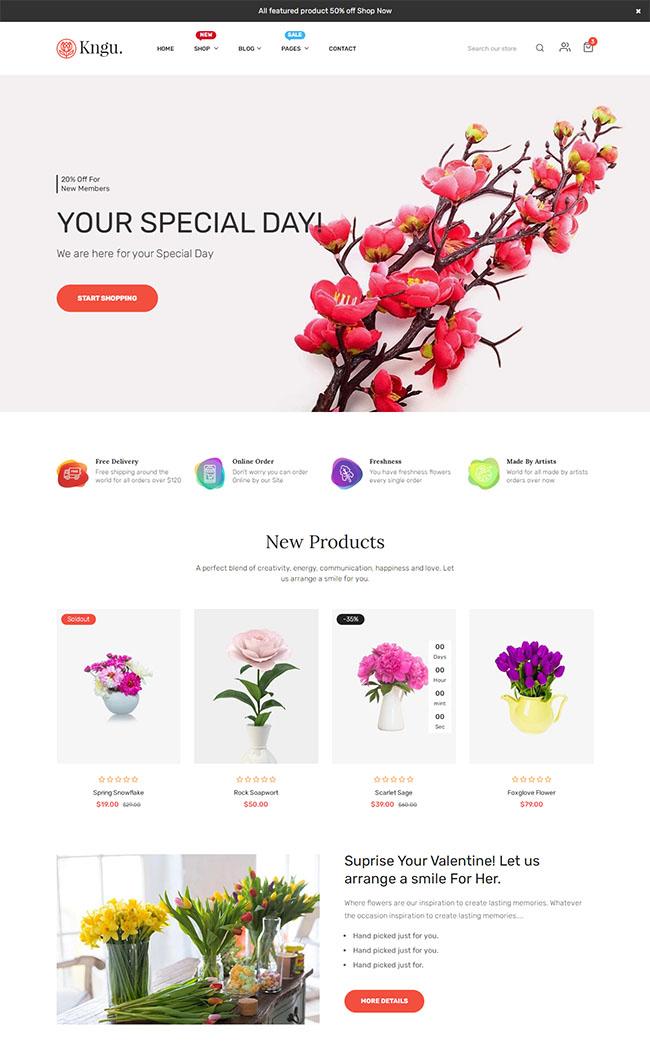 网上花店电商网站HTML5模板127
