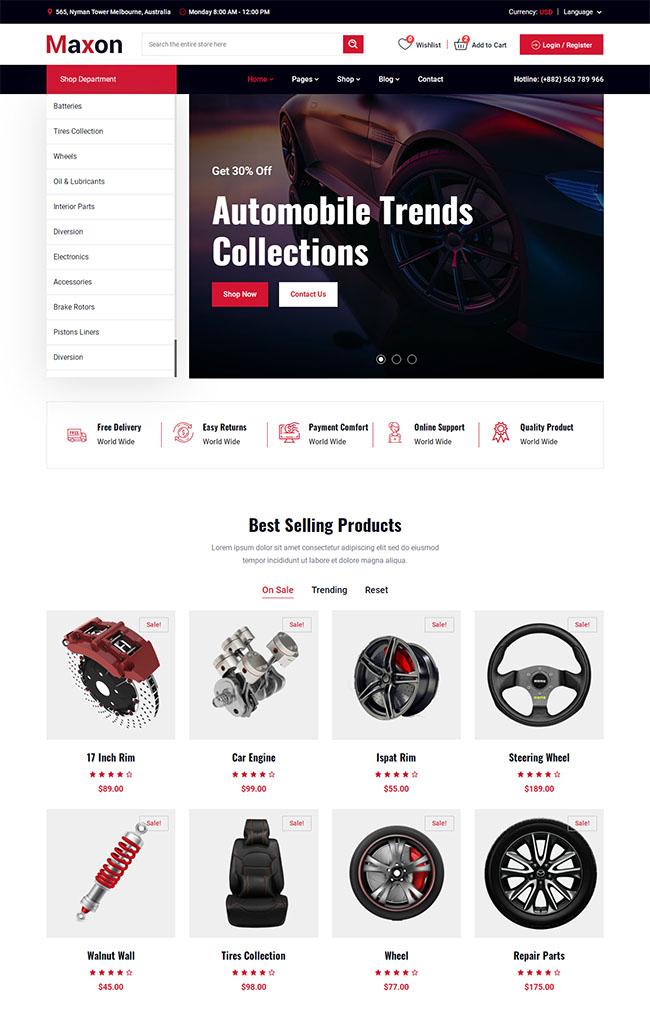 汽车配件网上商店HTML模板304