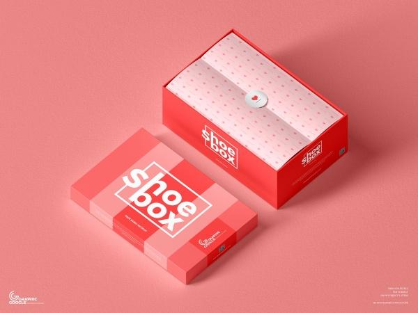 鞋盒PSD包装样机模板422