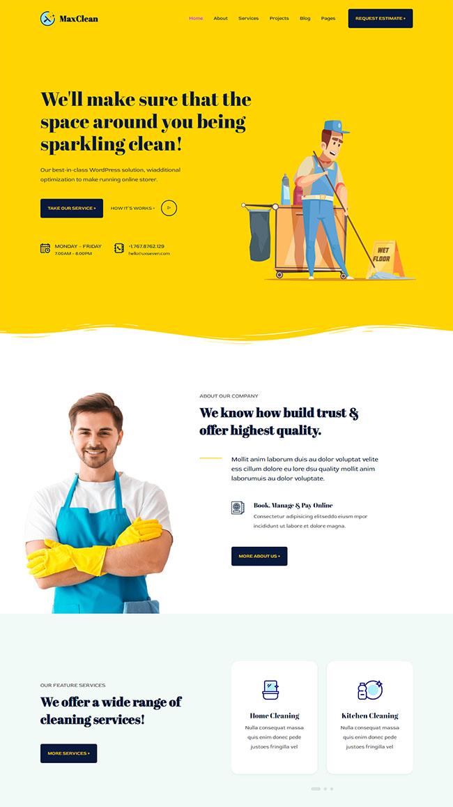 临时工清洁家政公司网站模板427