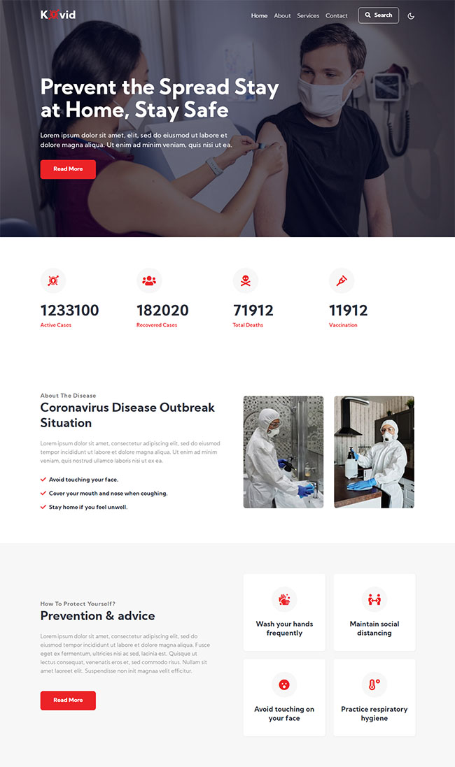 新冠疫苗接种医院网站模板603