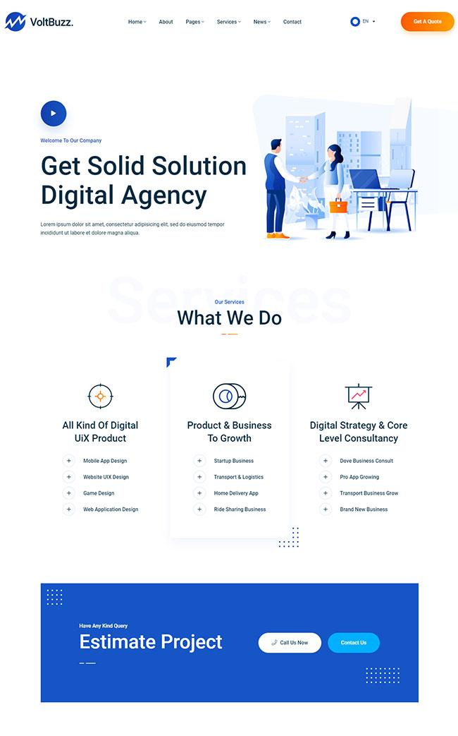 数字科技企业机构HTML5模板617