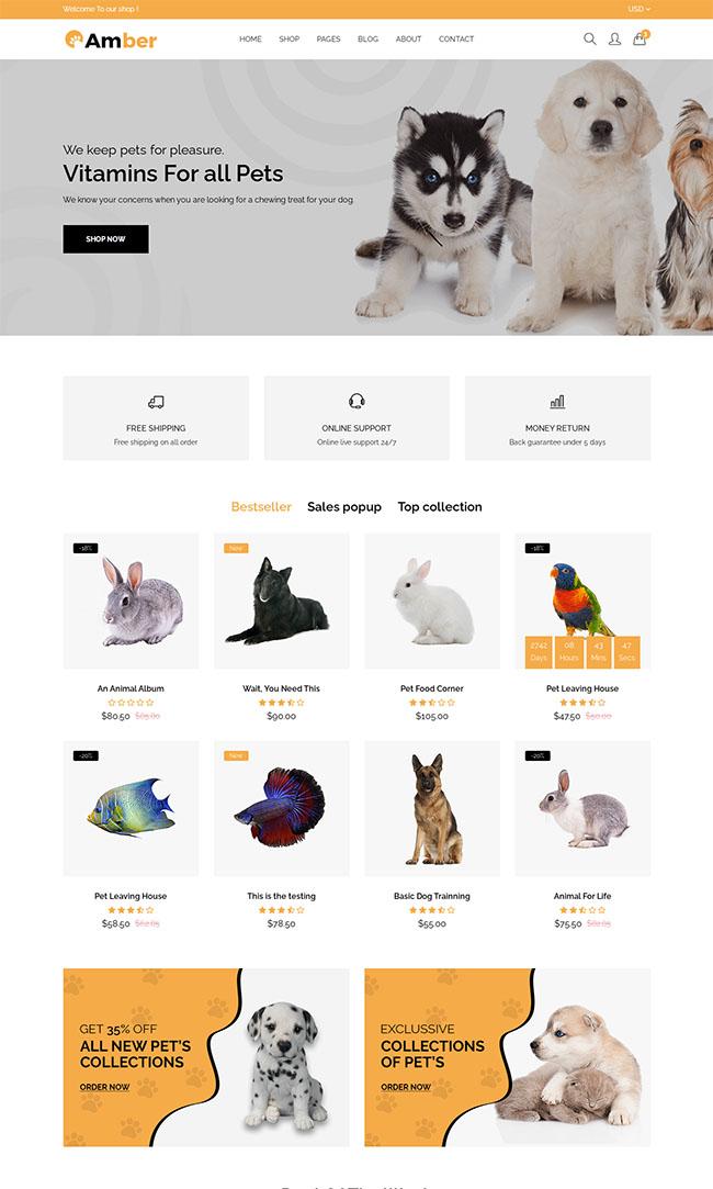 宠物护理店铺响应式网站模板627