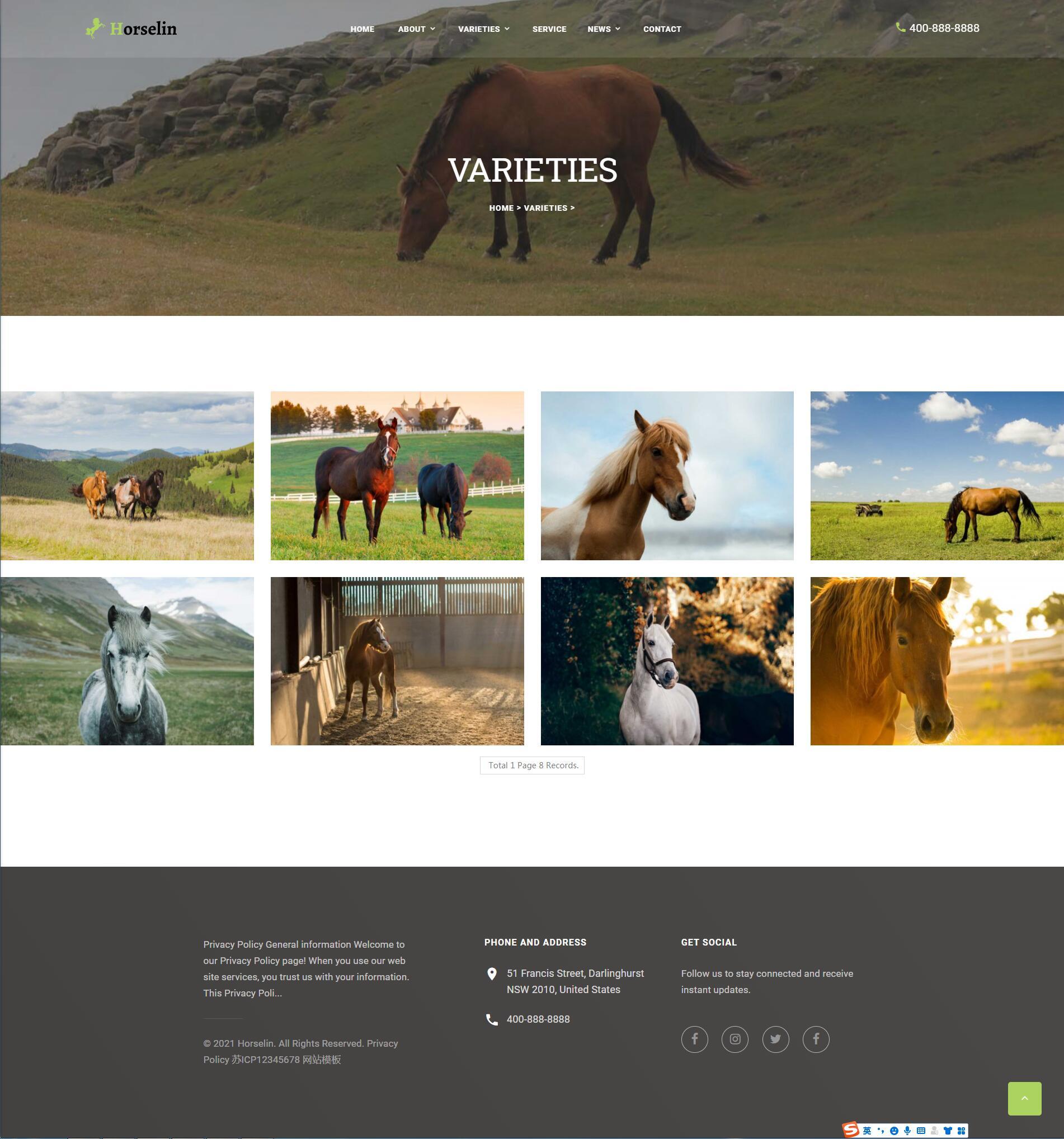 织梦dedecms响应式马匹饲养养殖场养马场畜牧业网站模板 自适应手机端