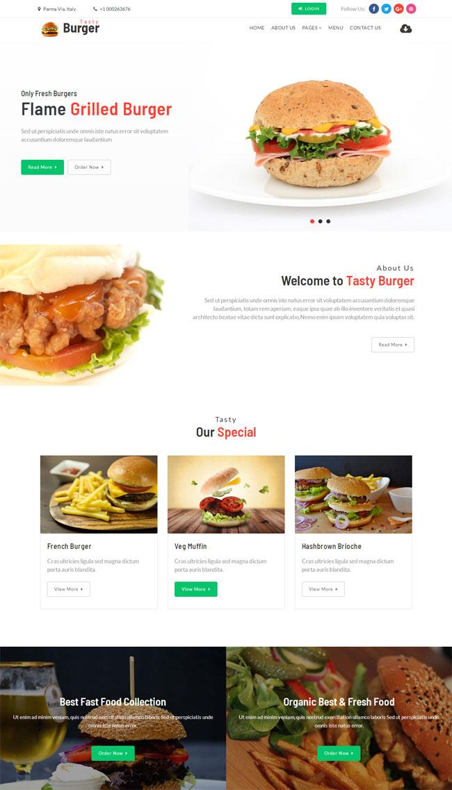 高热量快餐食品网站HTML5模板924