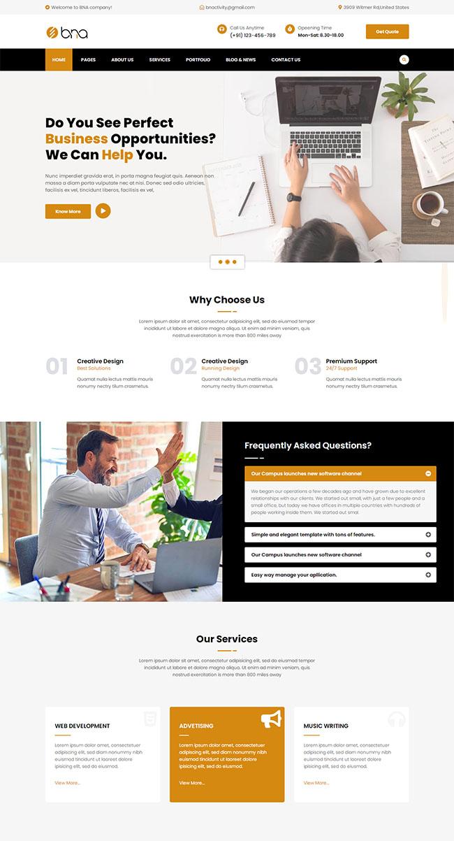 响应式商务企业展示网站模板104