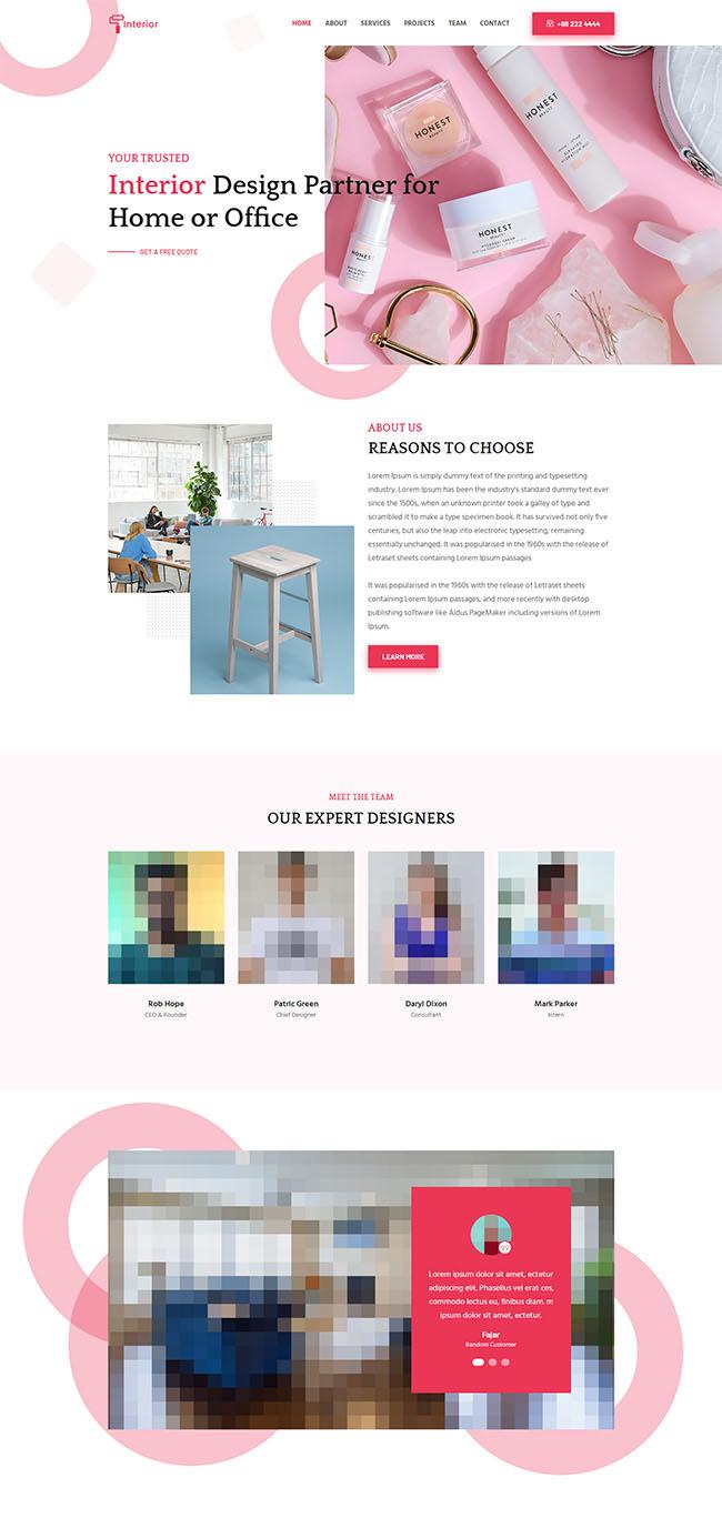 粉色系的化妆品公司网站模板1012